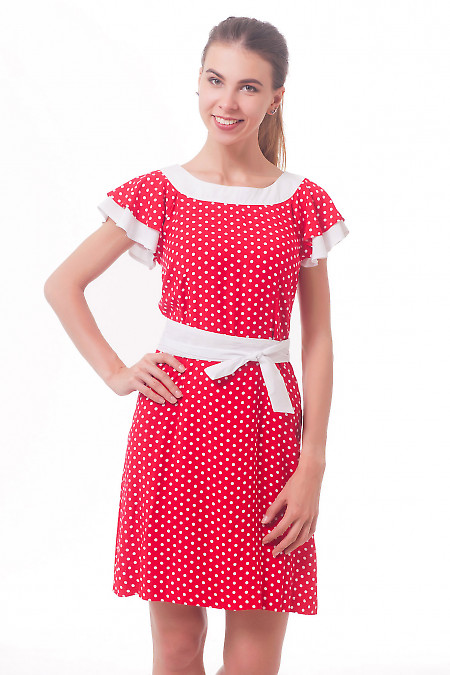 Платье красное в белый горошек Деловая женская одежда