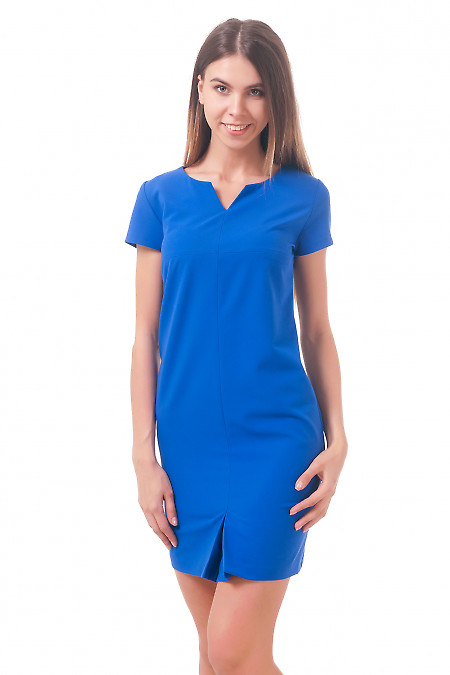 Фото Платье с бантовой складкой ярко-синее Деловая женская одежда