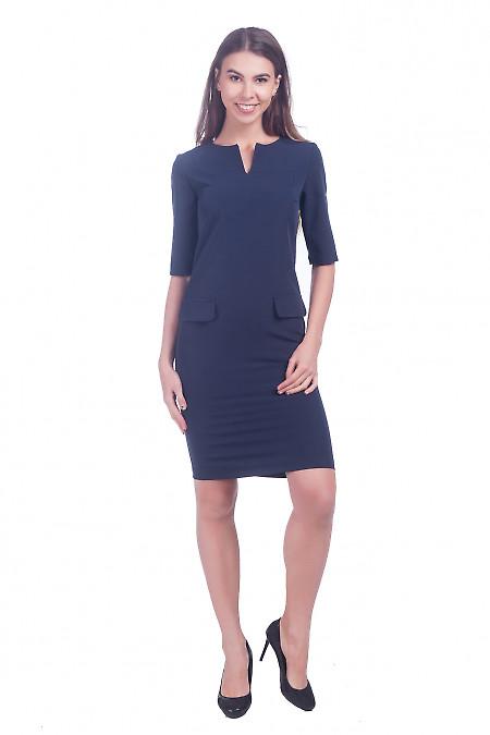Фото Платье синее с клапанами Деловая женская одежда