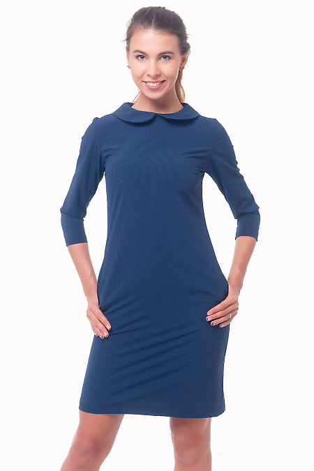 Платье синее в мелкую полоску с карманами Деловая женская одежда
