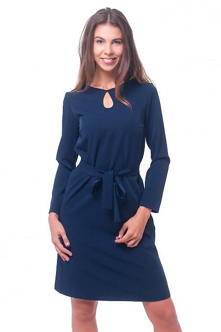 Платье темно-синее с капелькой Деловая женская одежда