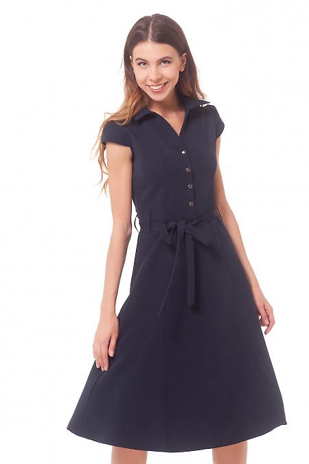 Платье темно-синее с пуговицами впереди Деловая женская одежда