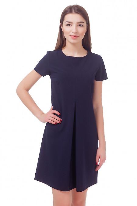 Платье темно-синее со складкой и коротким рукавом Деловая женская одежда