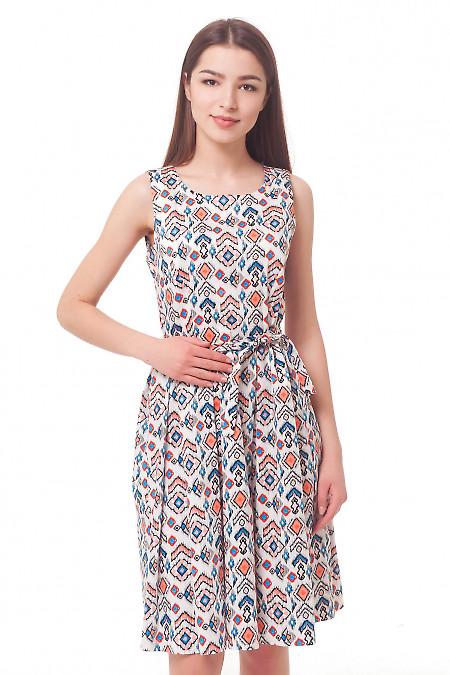 Платье в рыжий цветочек с пышной юбкой Деловая женская одежда