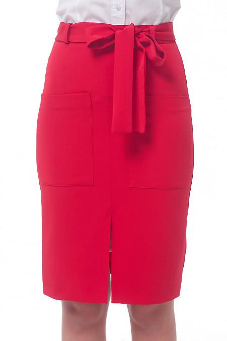 Юбка красная с накладными карманами Деловая женская одежда