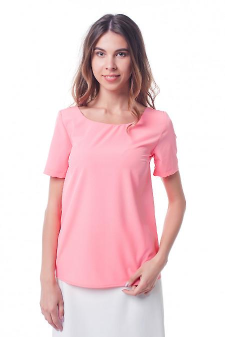 Блузка коралловая с вырезом на спине Деловая женская одежда фото