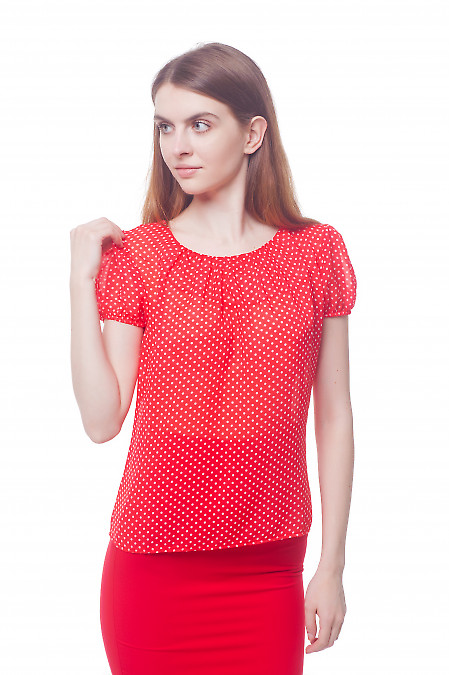 Блузка красная в белый горошек с рукавчиком Деловая женская одежда фото