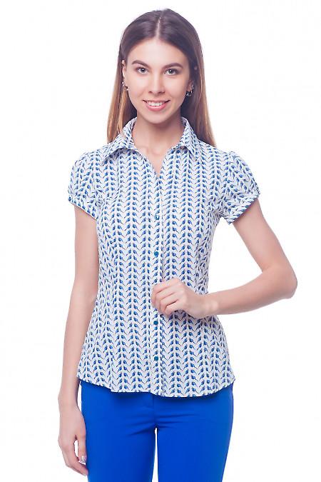 Блузка летняя в синие птички Деловая женская одежда