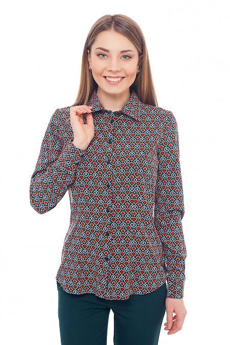 Блузка зелёная с красным узором Деловая женская одежда фото