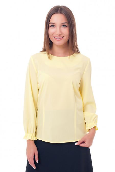 Блузка желтая с рукавом на резинке Деловая женская одежда фото