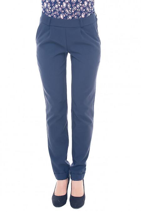 Брюки теплые синие на резинке Деловая женская одежда фото