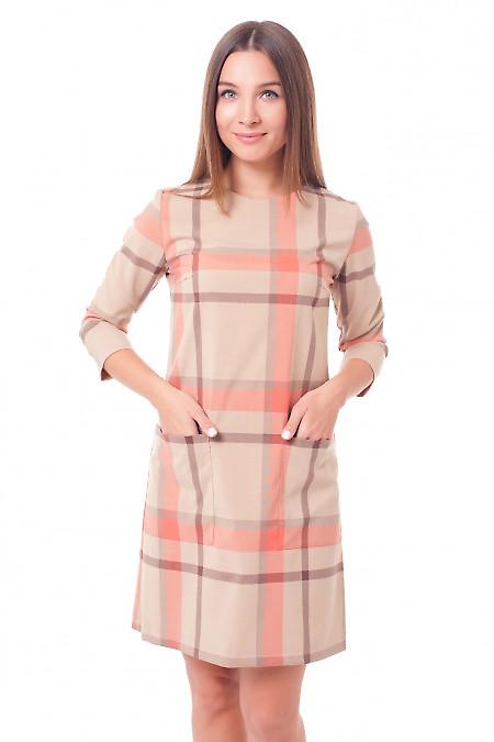 Платье бежевое в клетку Деловая женская одежда фото
