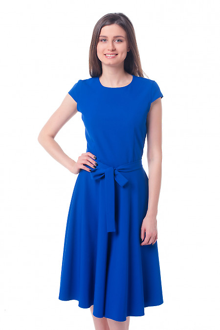 Платье электрик с пышной юбкой Деловая женская одежда фото