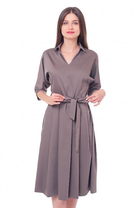 Платье хаки с пышной юбкой Деловая женская одежда фото