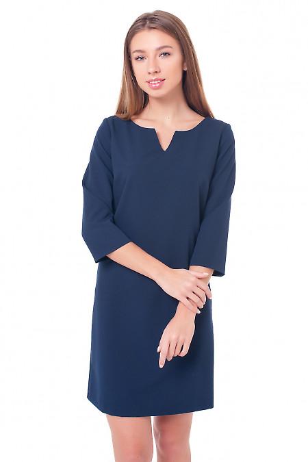 Платье синее с V-образной горловиной Деловая женская одежда фото