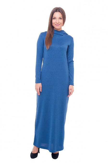 Платье в пол синее с капюшоном Деловая женская одежда фото