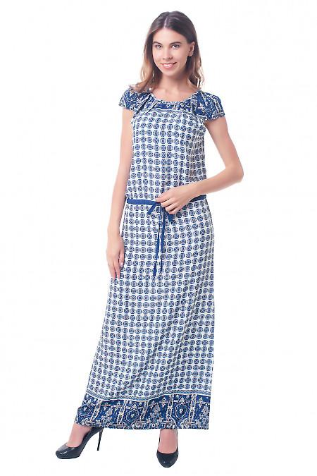Платье в пол в синее кружочки Деловая женская одежда фото