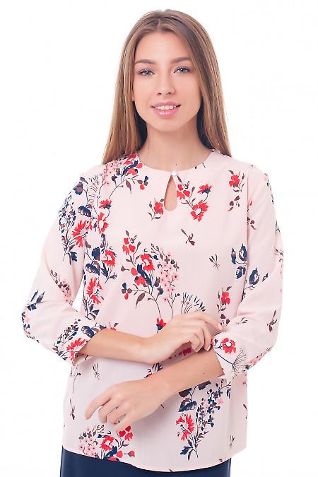 Розовая блузка с вырезом-капелька Деловая женская одежда фото