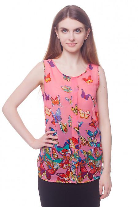 Топ розовый в разноцветные бабочки Деловая женская одежда фото