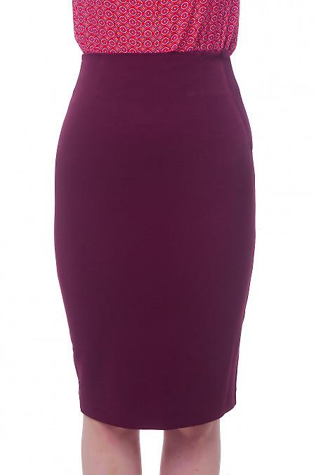 Юбка-карандаш бордовая с высокой талией Деловая женская одежда фото
