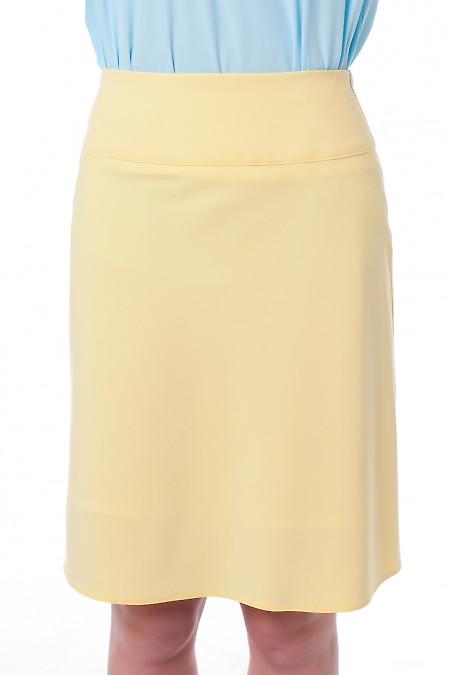 Юбка-трапеция желтая Деловая женская одежда фото