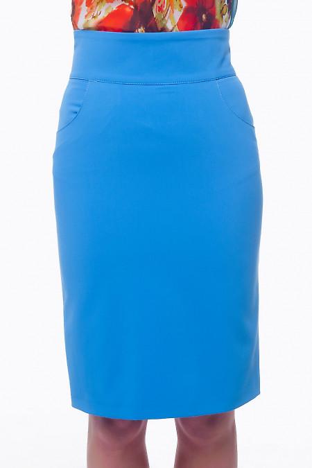 Юбка голубая с карманами Деловая женская одежда