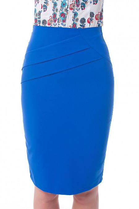 Юбка индиго с косыми складками Деловая женская одежда фото