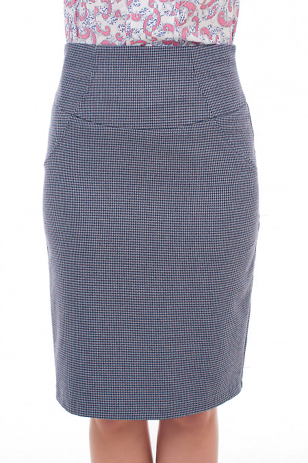 Серая юбка в бордовую лапку Деловая женская одежда фото