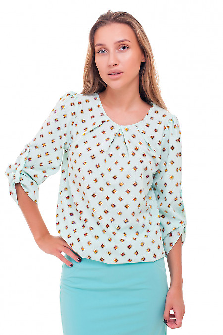 Бирюзовая блузка в коричневый ромб Деловая женская одежда фото