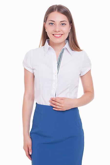 Блузка белая с тесьмой синей Деловая женская одежда фото