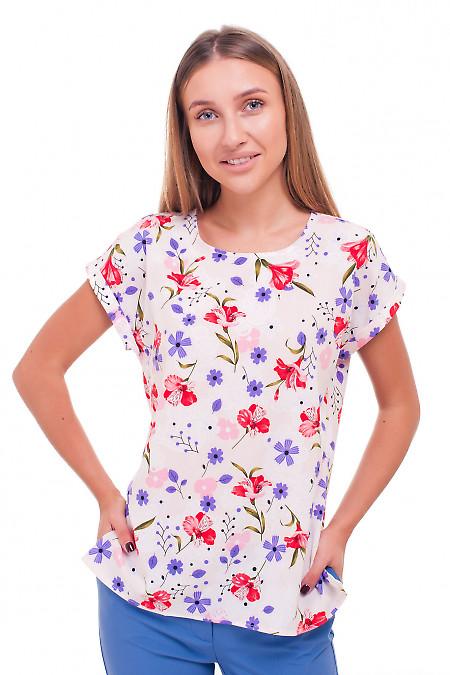 Блузка розовая в красные цветы Деловая женская одежда фото