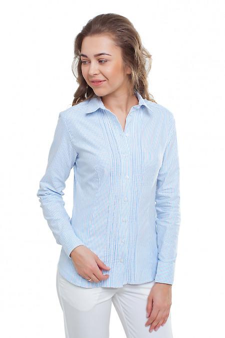 Блузка с защипами в голубую полоску Деловая женская одежда фото