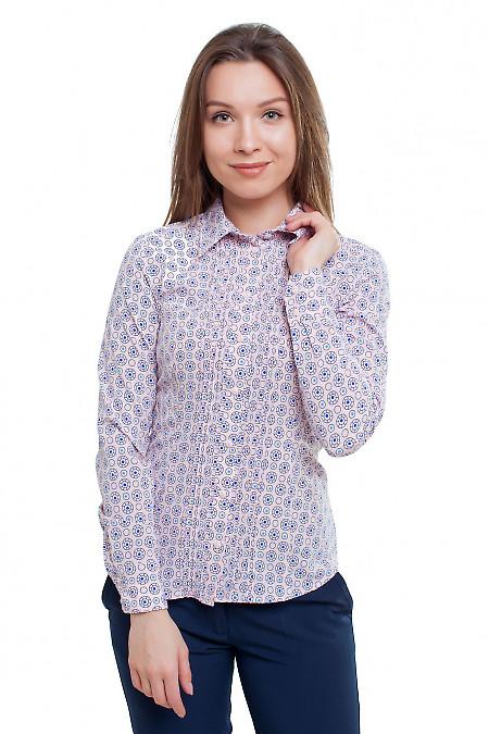 Блузка в синие колесики Деловая женская одежда фото