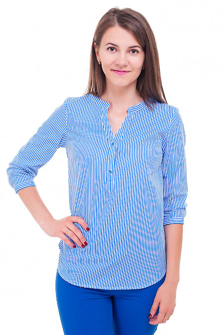 Блузка в яркую голубую полоску Деловая женская одежда фото