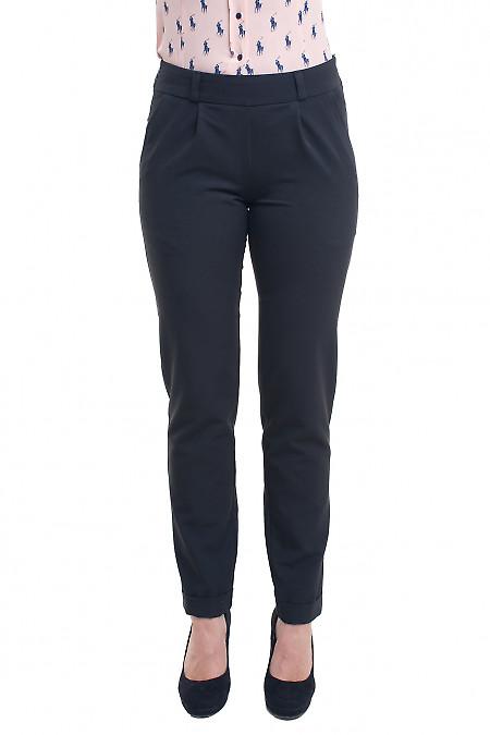 Чёрные брюки зауженные на резинке Деловая женская одежда фото