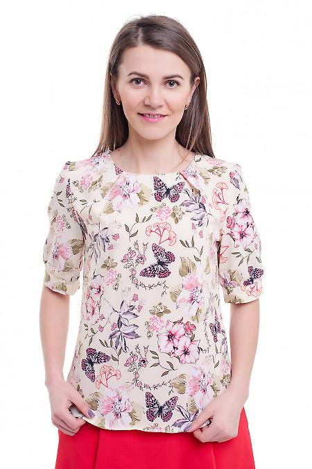 Летняя блузка с защипами у горловины Деловая женская одежда фото