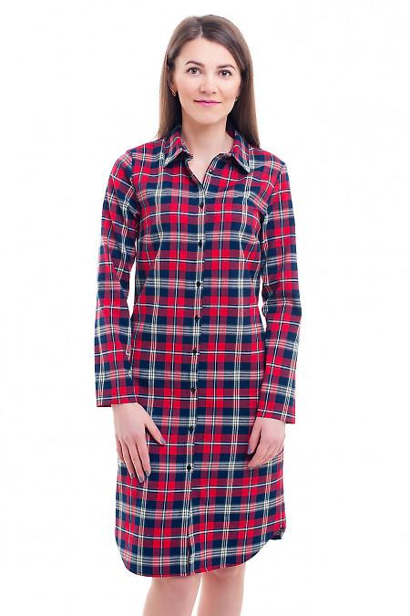 Платье-сафари в красную клетку Деловая женская одежда фото