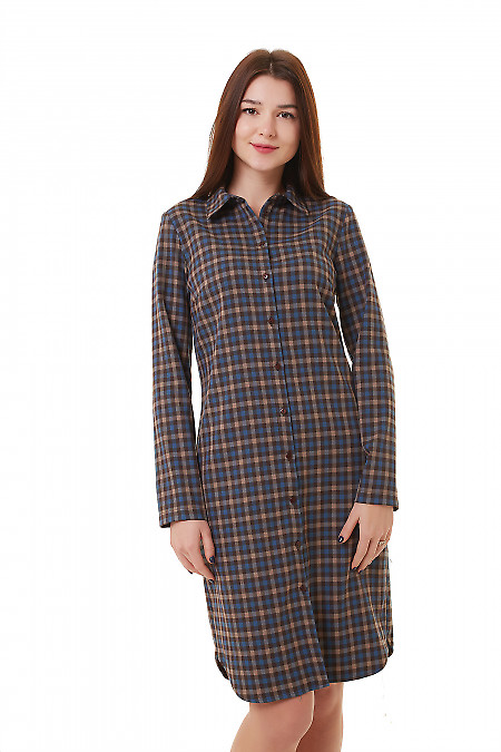 Платье-сафари в серую клетку Деловая женская одежда фото