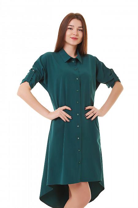 Платье-сафари зеленое с удлиненной спинкой Деловая женская одежда фото