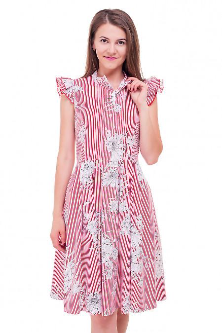 Платье полосатое с двойным рукавчиком Деловая женская одежда фото