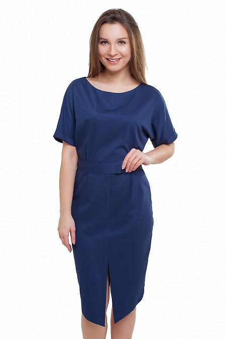 Платье с рукавом летучая мышь синее Деловая женская одежда фото