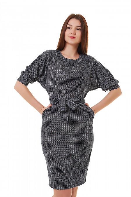 Платье трикотажное с поясом и карманами Деловая женская одежда фото