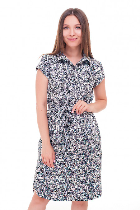 Платье в черные огурцы с пуговичками Деловая женская одежда фото