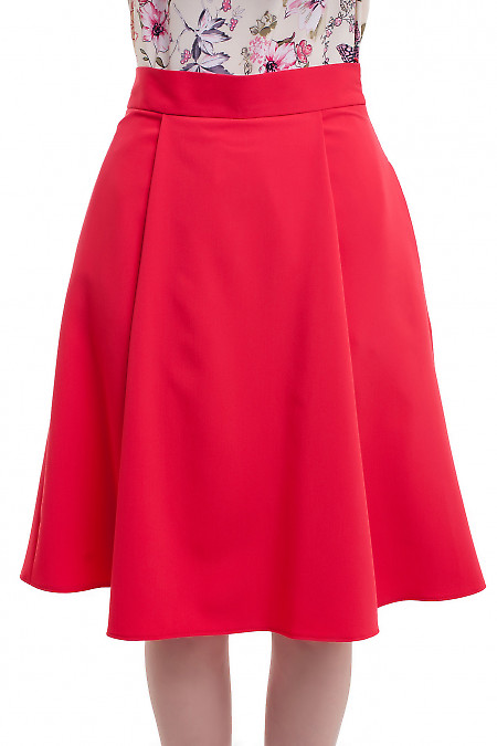 Пышная красная юбка миди Деловая женская одежда фото