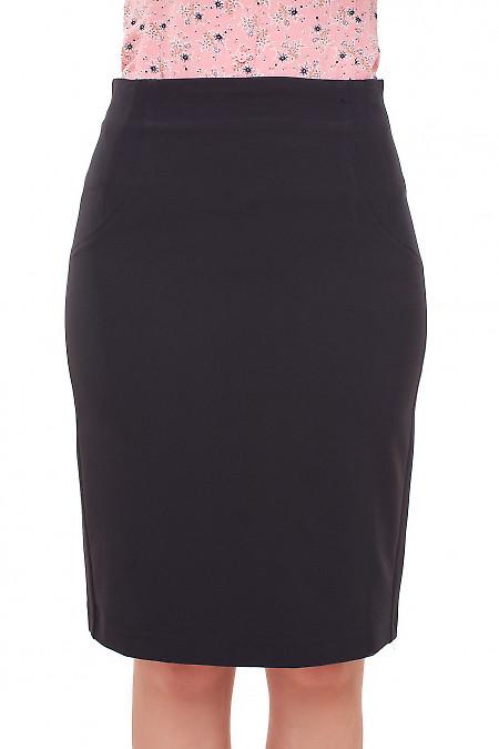 Юбка без пояса черная Деловая женская одежда фото