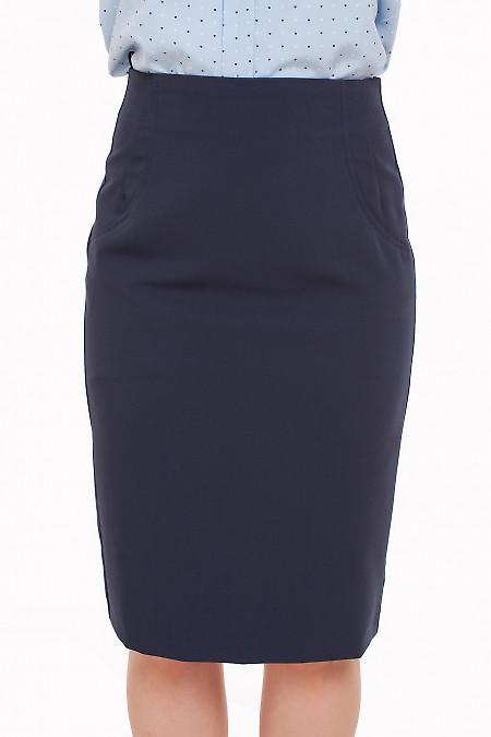 Юбка без пояса синяя Деловая женская одежда фото