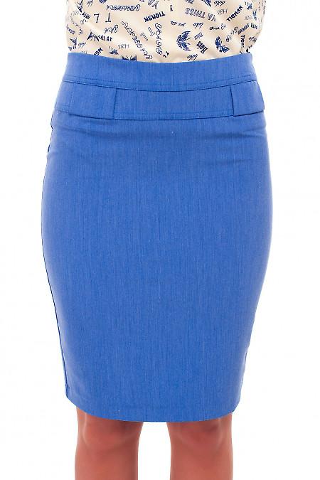 Юбка синяя под джинс Деловая женская одежда фото