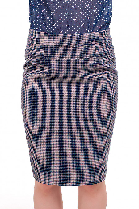 Юбка в мелкую синюю клеточку Деловая женская одежда фото