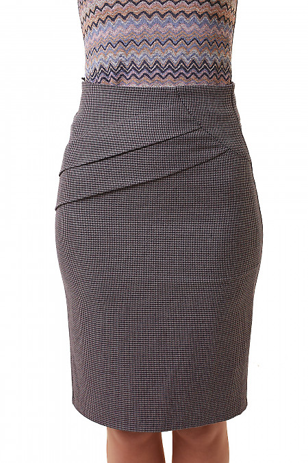Юбка в серую лапку со складками на поясе Деловая женская одежда фото