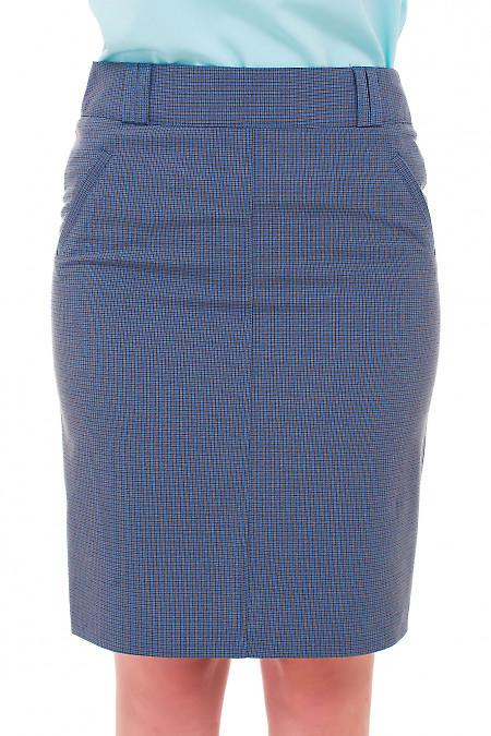 Юбка в синюю мелкую лапку Деловая женская одежда фото